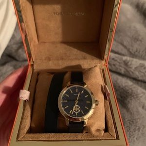 Tory Burch black leather watch